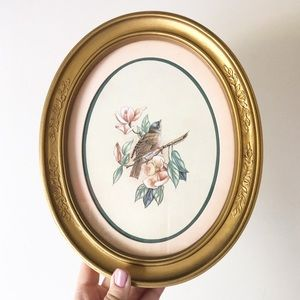 Vintage Oval Bird Gold Frame Picture Boho